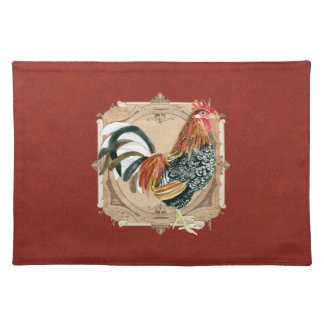 Vintage Style French Country Rustic Barn Rooster Cloth Placemat