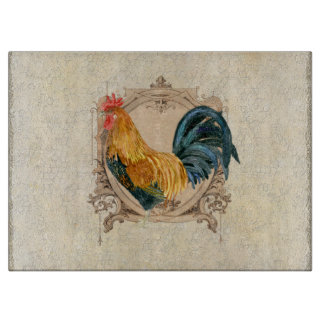Vintage Style French Country Rustic Barn Rooster Cutting Board