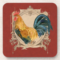 Vintage Style French Country Rustic Barn Rooster Drink Coaster