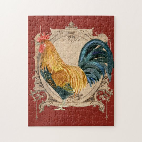 Vintage Style French Country Rustic Barn Rooster Jigsaw ...
