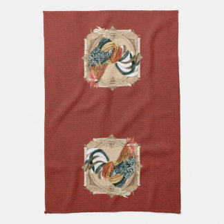 Vintage Style French Country Rustic Barn Rooster Kitchen Towel