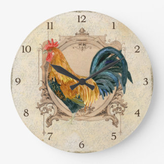 Vintage Style French Country Rustic Barn Rooster Large Clock