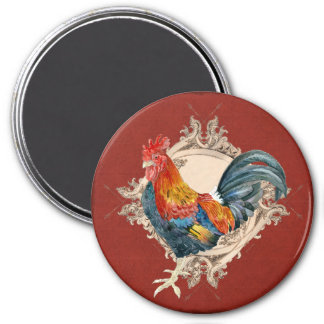 Vintage Style French Country Rustic Barn Rooster 3 Inch Round Magnet