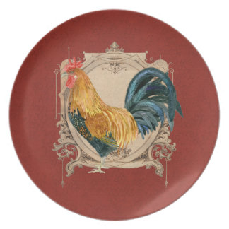 Vintage Style French Country Rustic Barn Rooster Melamine Plate