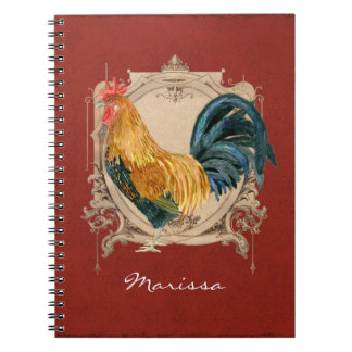 Vintage Style French Country Rustic Barn Rooster Notebook