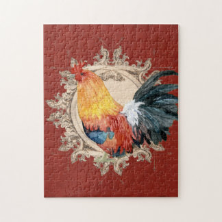 Vintage Style French Country Rustic Barn Rooster Puzzle