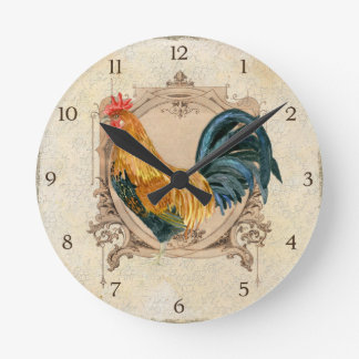 Vintage Style French Country Rustic Barn Rooster Round Clock