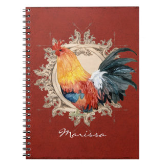 Vintage Style French Country Rustic Barn Rooster Spiral Notebook