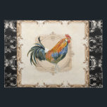 """Vintage Style French Damask Black n White Rooster Cloth Placemat<br><div class=""""desc"""">COLOR PALETTE: Black, cream, tan, brown, and touches of red. DESIGN COLLECTION: Hand painted watercolor by Audrey Jeanne Roberts, the rooster is red, blue and gold with a black elegant long tail which is layed over a vintage etched swirl printer&#39;s ornament decorative frame on a crackled finish antiques tan hand...</div>"""