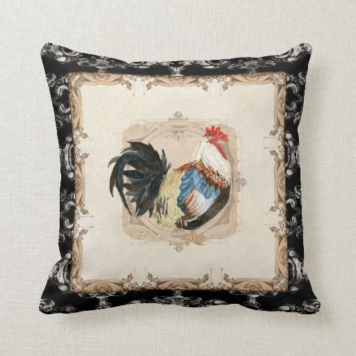 Black Rooster Throw Pillows : Vintage Style French Damask Black n White Rooster Throw Pillows Zazzle