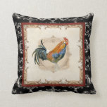Vintage Style French Damask Black n White Rooster Pillow