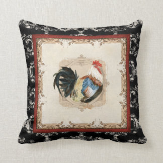 Vintage Style French Damask Black n White Rooster Throw Pillows
