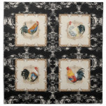 Vintage Style French Damask Black n White Rooster Printed Napkins