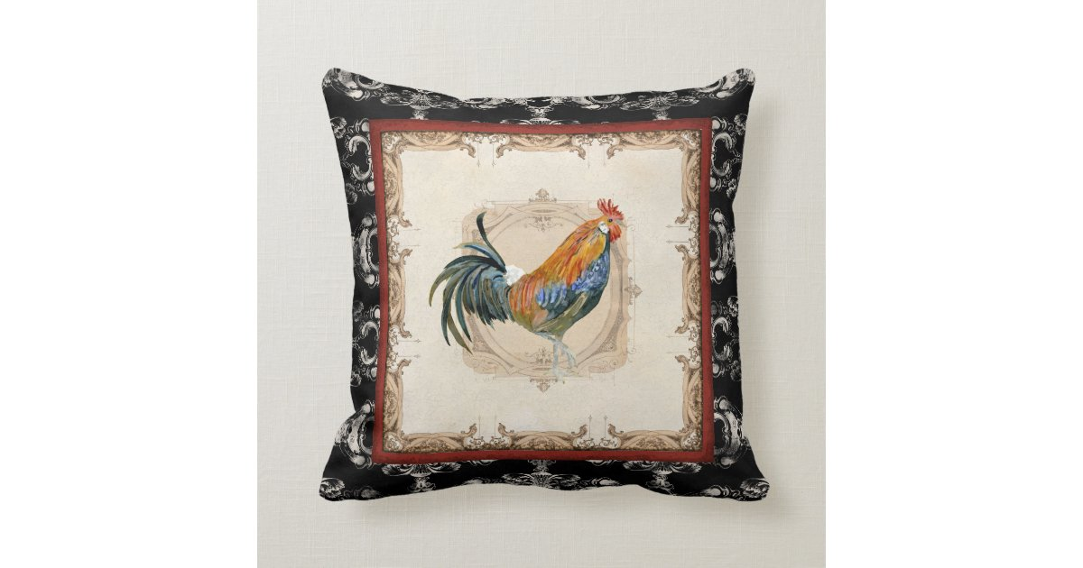 Black Rooster Throw Pillows : Vintage Style French Damask Black n White Rooster Throw Pillow Zazzle
