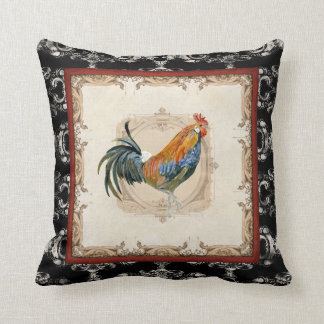 Vintage Style French Damask Black n White Rooster Throw Pillow