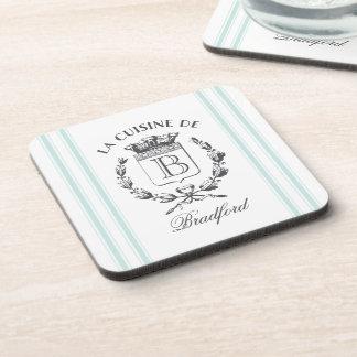 Vintage Style French Sack Custom Name and Monogram Coaster