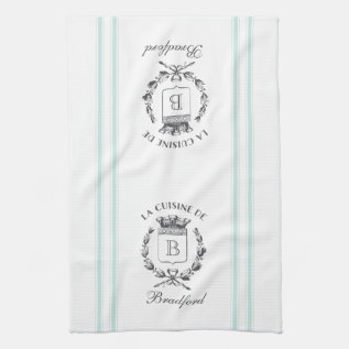 Vintage Style French Sack Custom Name And Monogram Towel at Zazzle