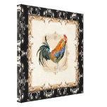 Vintage Style French Toile Black n White Rooster Canvas Prints