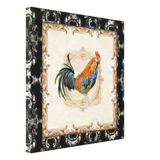 Vintage Style French Toile Black n White Rooster Canvas Print