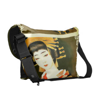 vintage style geisha courier bags