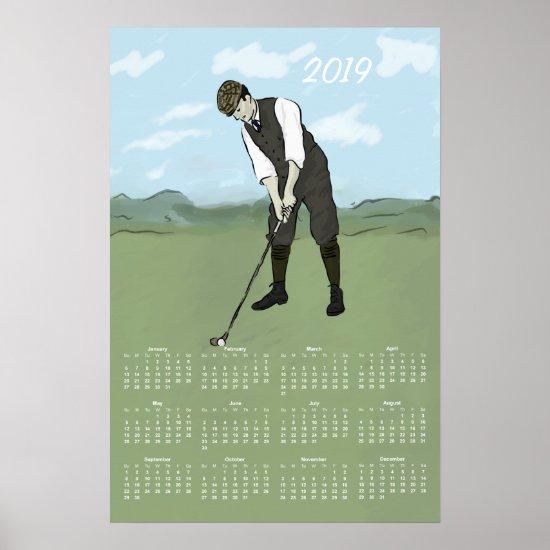 Vintage Style Golf2019 Calendar Print