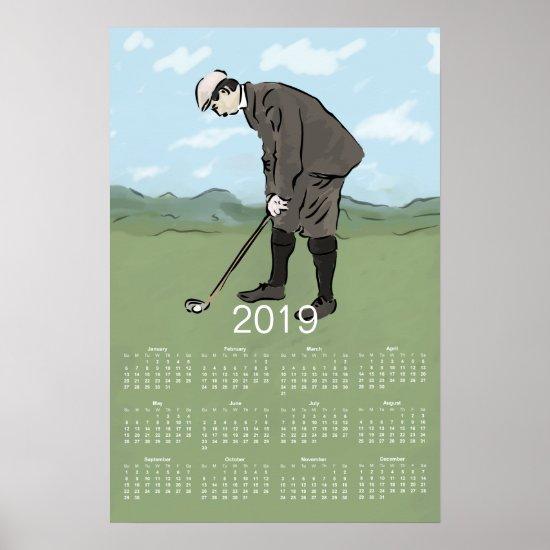 Vintage Style Golf art 2019 Calendar Print