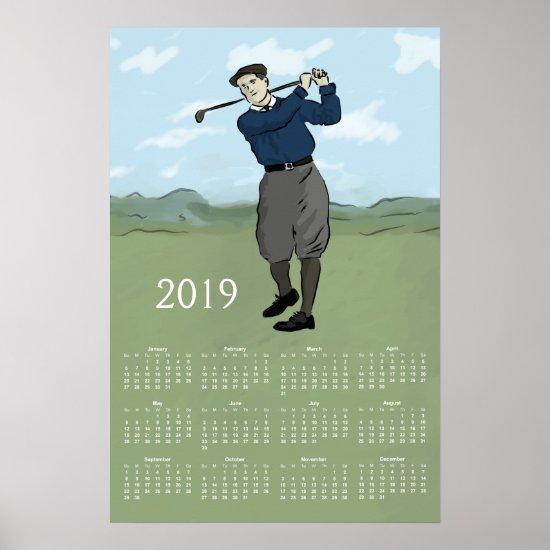 Vintage Style Golfer 2019 Calendar Print