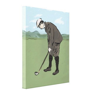 Vintage style golfer putting canvas print