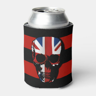 vintage style gothic skull with union jack can cooler
