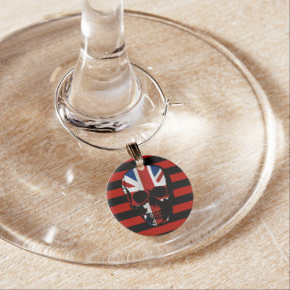 vintage style gothic skull with union jack wine charm