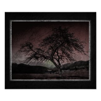 Vintage Style Grunge Tree Poster print