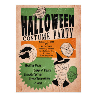 Costume party invitations announcements zazzle for Vintage halloween party invitations