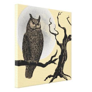 Vintage Style Halloween Wall Art - Owl Moon Tree