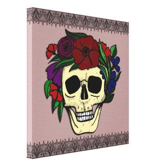 Vintage Style Halloween Wall Art - Skull & Flowers