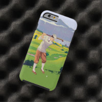 Vintage Style Highlands Golfing Scene Art Tough iPhone 6 Case