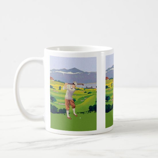 Vintage Style Highlands Golfing Scene Art Coffee Mug
