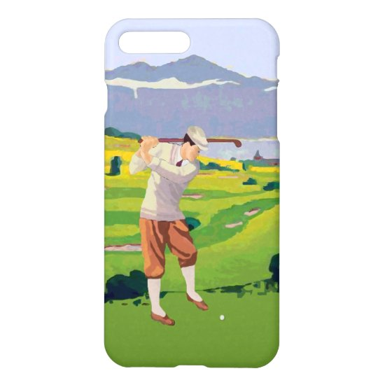 Vintage Style Highlands Golfing Scene Art iPhone 8 Plus/7 Plus Case