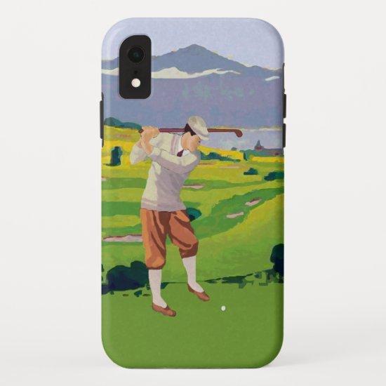 Vintage Style Highlands Golfing Scene Art iPhone XR Case
