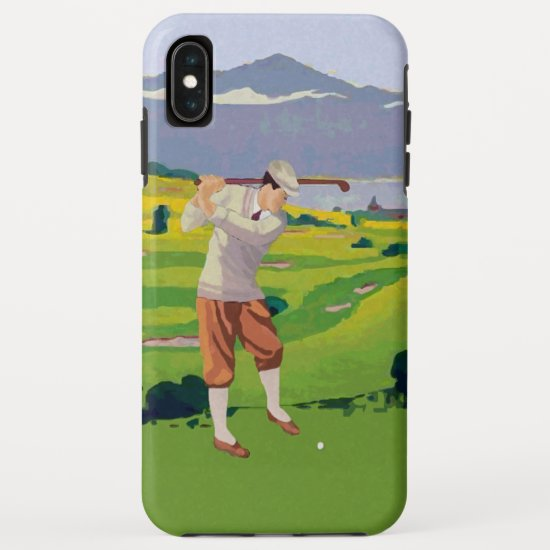 Vintage Style Highlands Golfing Scene Art iPhone XS Max Case
