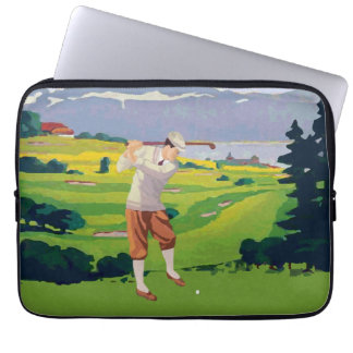 Vintage Style Highlands Golfing Scene Art Laptop Sleeve
