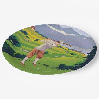 Vintage Style Highlands Golfing Scene Art Paper Plate