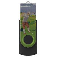 Vintage Style Highlands Golfing Scene Art USB Flash Drive