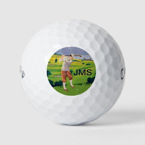 Vintage Style Highlands Golfing Scene Golf Balls