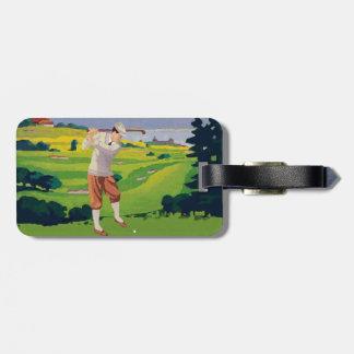 Vintage Style Highlands Golfing Scene V2 Tag For Bags