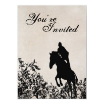 Vintage Style Horse Jumping Birthday Invitation