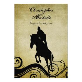 Vintage Style Horse Jumping Wedding Invitation
