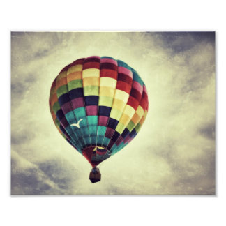 Vintage style hot air balloon print