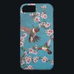 "Vintage Style Hummingbird Painting iPhone 8/7 Case<br><div class=""desc"">Beautiful vintage style painting of hummingbirds,  on a blue background with cherry blossoms.</div>"