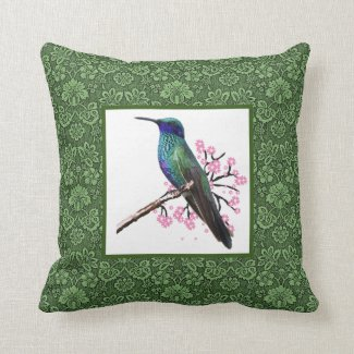 Vintage-Style Hummingbird with Green Lace Throw Pillow