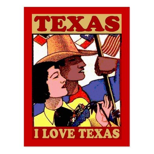 Vintage Style I Love Texas Postcard